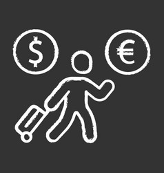 Economic migrant chalk icon person searching new vector