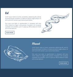eel and mussel seafood set double color graphic vector image
