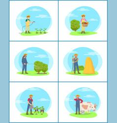 Farming plantation people set vector