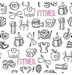 Fitness sketch black and white seamless pattern vector image