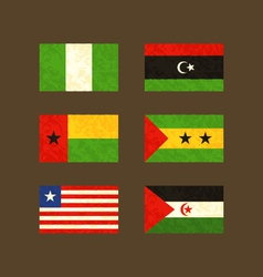 Flags of Nigeria Libya Guinea-Bissau Sao Tome vector image