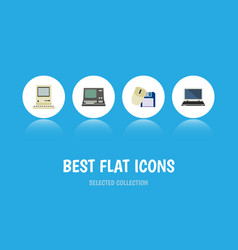 flat icon laptop set of notebook computer mouse vector image