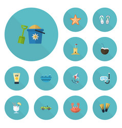 flat icons aqualung drink sea star and other vector image