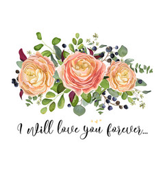 floral design card garden peach rose plants leaf vector image