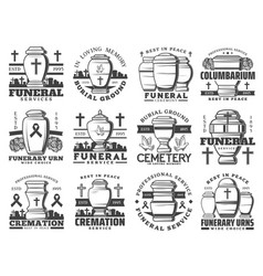 funeral and funerary urn icons vector image