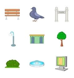 Garden landscape icons set cartoon style vector
