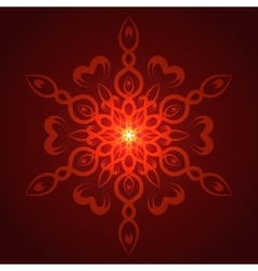 Geometric red glow mandala vector