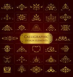 golden ornate calligraphic design elements vector image