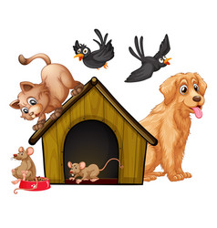 group cute animals cartoon character isolated vector image