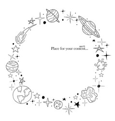 Hand drawn frame space elements in doodle style vector