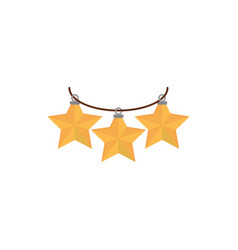 hanging gold stars decoration happy christmas icon vector image