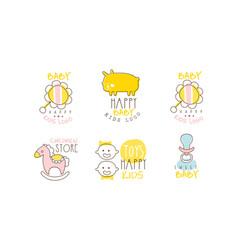 Happy bakids logo design collection children vector
