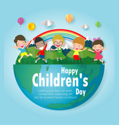Happy children day background group of kids jump vector