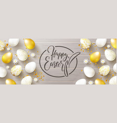 happy easter banneregg hunt golden and white vector image