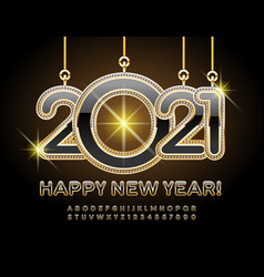 happy new year 2021 black and gold alphabet set vector image