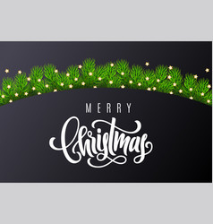 holiday card with hand lettering merry christmas vector image