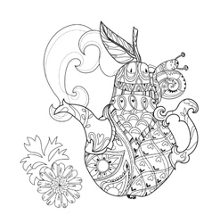 Honey pear doodle and bees vector image
