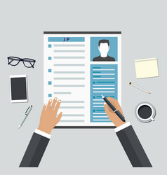 Job interview consideration by profiles vector