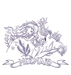 Little Mermaid For Coloring vector