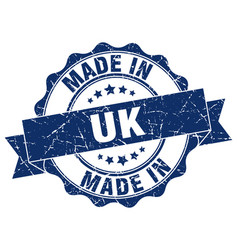 made in uk round seal vector image