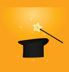 magic hat and stick vector image