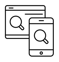 magnifying glass with smart phone thin line icon vector image
