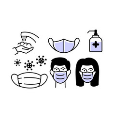 male and female wearing face mask icon set man vector image