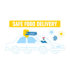 Male character riding car delivering food to vector