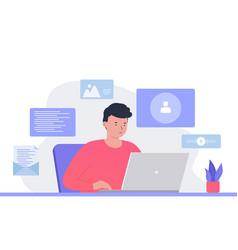 Man conducting a virtual meeting conference call vector