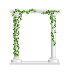 Marble roman arch with columns at green ivy vector