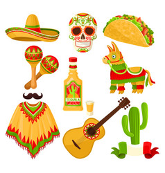 Mexican holiday symbols set sombrero hat sugar vector