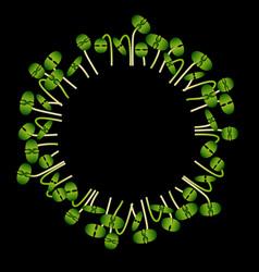 Microgreens basil arranged in a circle black vector
