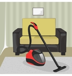 Modern interior with vacuum cleaner and chair vector