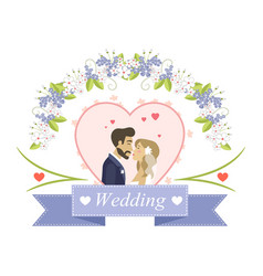 newlyweds characters wedding holiday card vector image