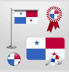 panama country flag haning on pole ribbon badge vector image