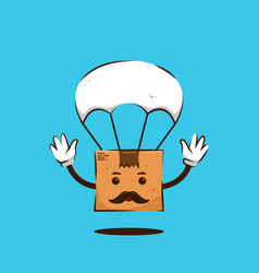 Parcel package box papa with moustache vector