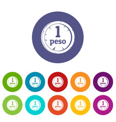 peso icons set flat vector image