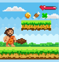 Pixel-game primitive man male brave character vector