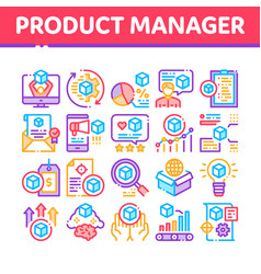 Product manager work collection icons set vector