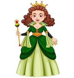 Queen in green gown vector