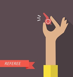 Referee hand holding a whistle vector