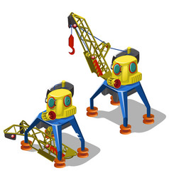 repair and launch of broken lifting crane isolated vector image