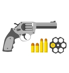 Revolver bullets barrel in flat style Military vector image