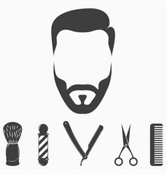 set barber shop elements vector image