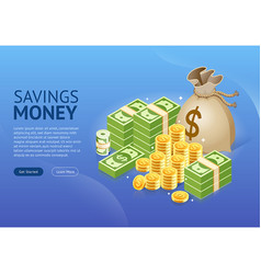 set money icon banner vector image