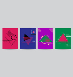 set of color covers with minimal design and vector image