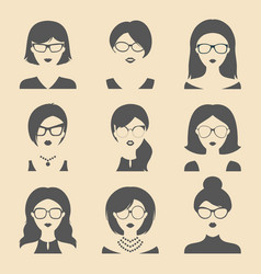 Set of different women app icons in glasses vector