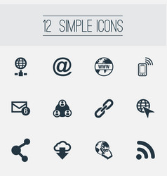 set of simple internet icons vector image
