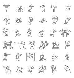 set sport line icons vector image