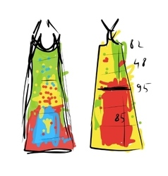 Sewing dress sketch for your design vector image